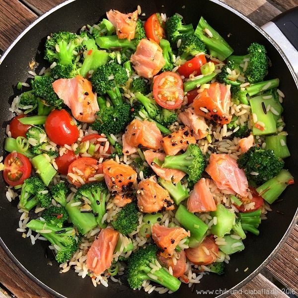 Photo of Asia rice pan with broccoli, tomatoes and stremell salmon