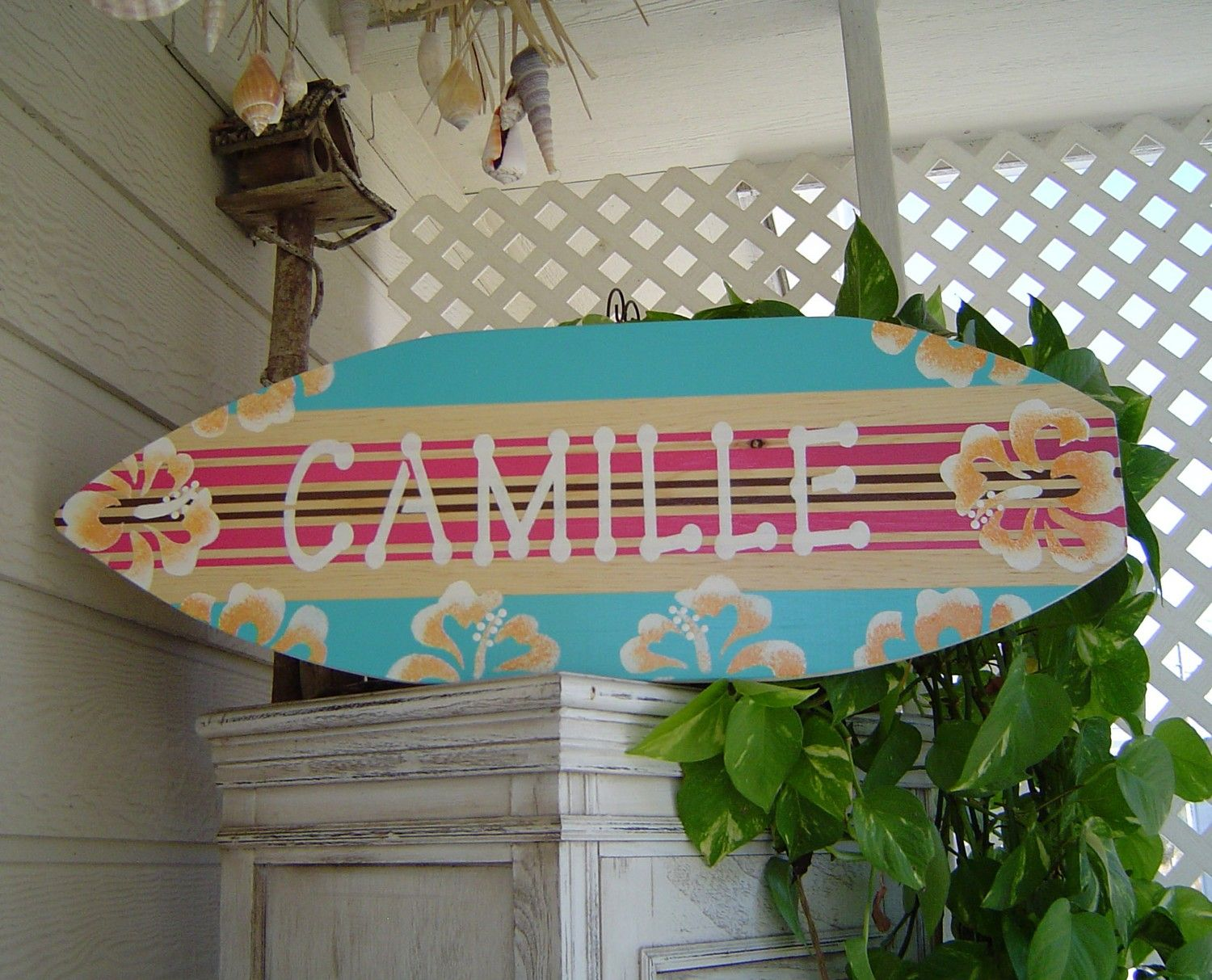 27 Inch Personalized Hibiscus Surfboard Wall Art Sign