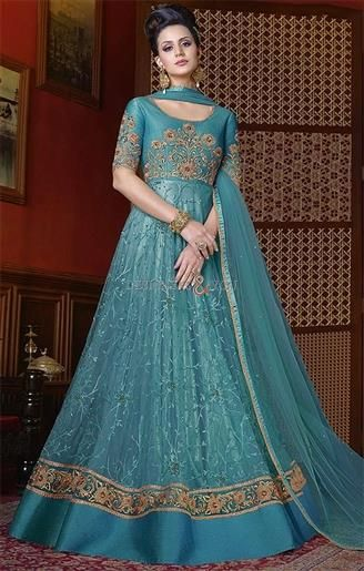Ever-Stylish Light Sea Green Worked Long Gown Dress For Wedding ...