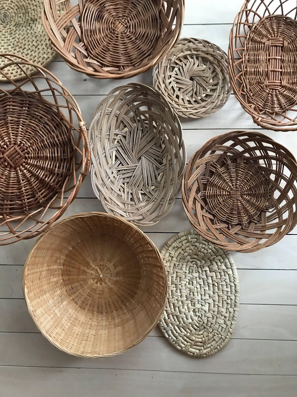 Basket Wall Art Bamboo Basket Wicker Basket Set Boho Etsy