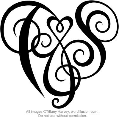 T S Heart Design Monogram Tattoo Couple Tattoos Couple