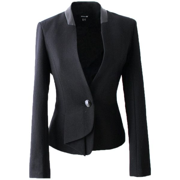 Blazers For Women Cotton Blended Patchwork PU Short (€41) ❤ liked on Polyvore featuring outerwear, jackets, blazers, pinkqueen, casacos, black, polyurethane jacket, black jacket, black blazer and short black jacket