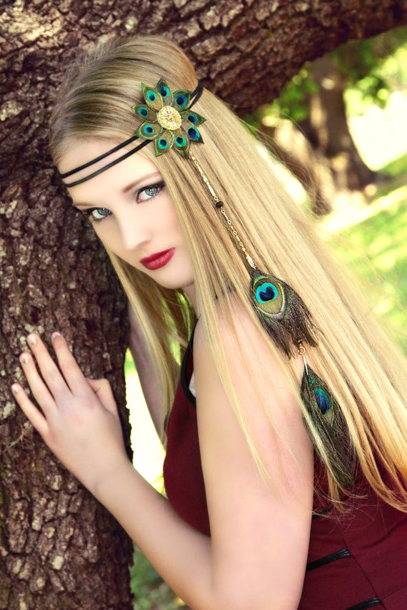 Peacock Eyes Flower hippie boho headband by TheHauteFeather, $40.00 Samantha Headband