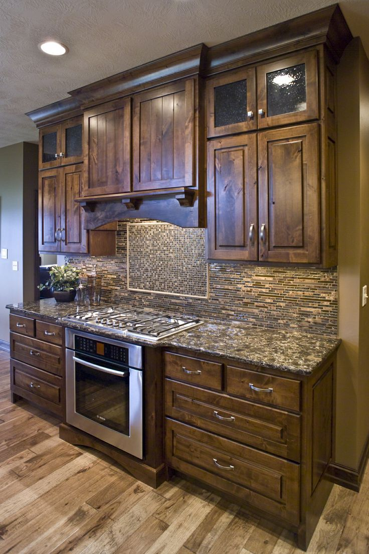 Kitchen cabinets kitchen wall cabinet wide shaker kitchen cabinets - Like The Tone Of The Rustic Knotty Alder Kitchen Cabinets Would Prefer Shaker Design Like The Style Of Glass In The Cabinet Doors The Covered Hood