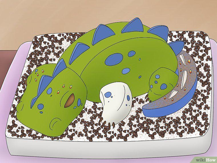 Einen dreidimensionalen Dinosaurier Geburtstagskuchen anfertigen