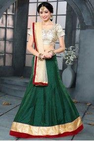 Banglori Silk and Art Silk Party Wear Lehenga Choli In Green Colour