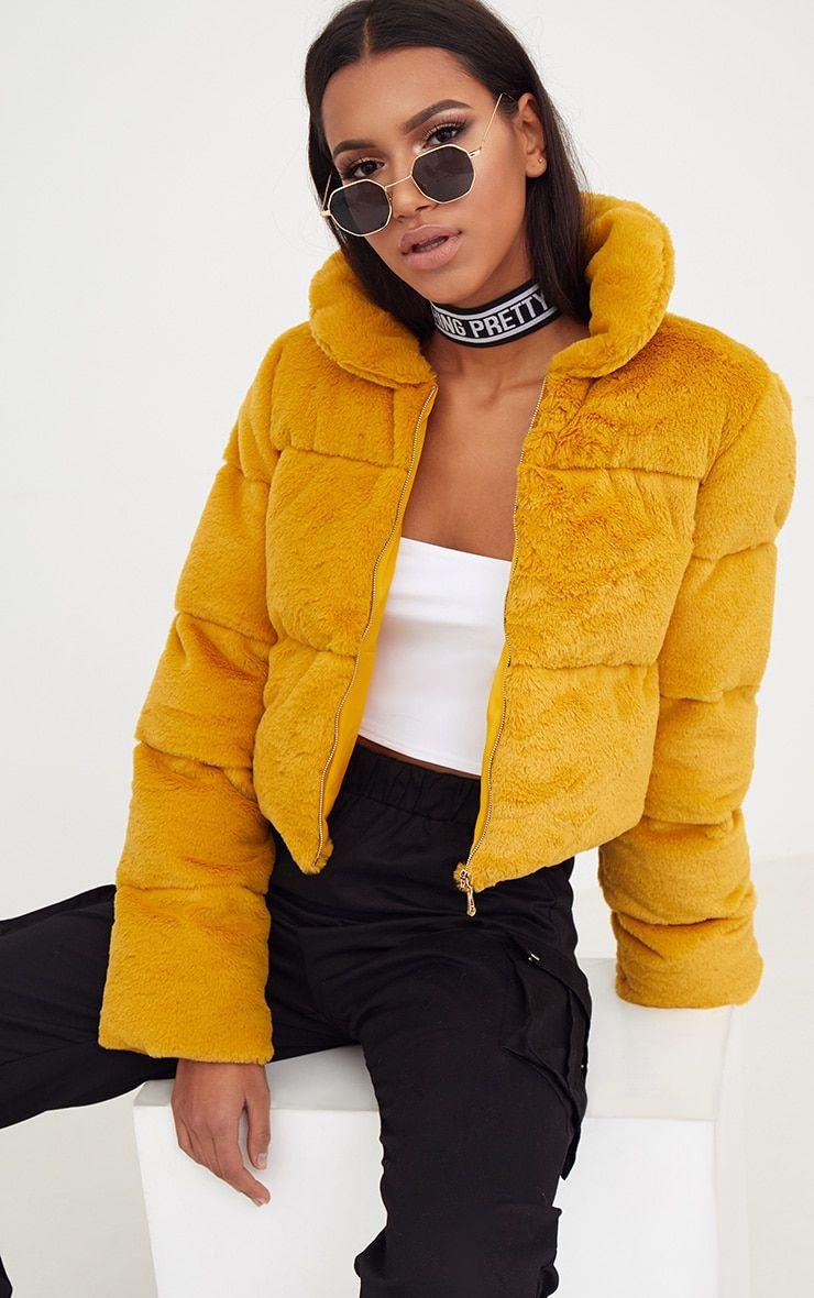 358586a673 Mustard Faux Fur Puffer Jacket