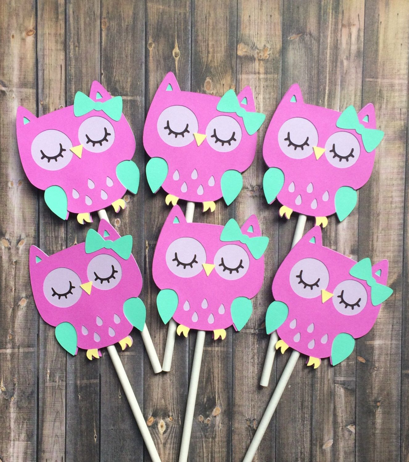 12 Owl cupcake toppers birthday decorations purple owl baby