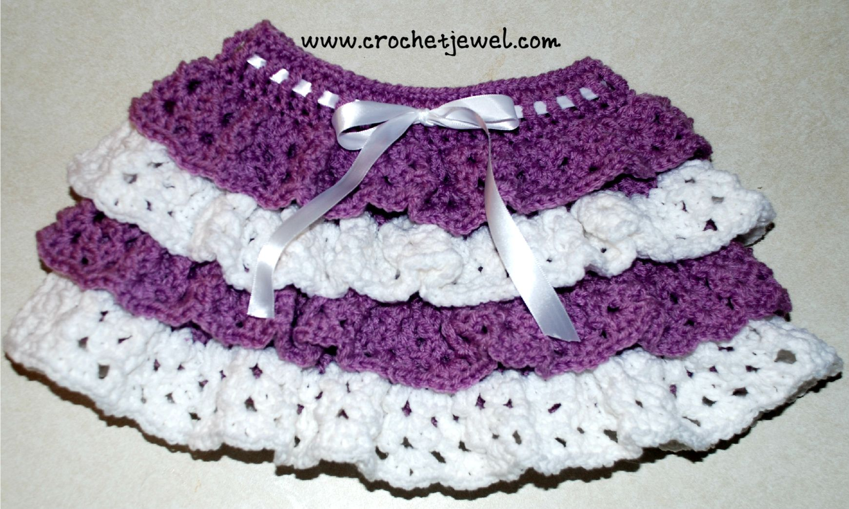 Crochet Ruffle Skirt (Girls size 2, 4), http://crochetjewel.com/?p ...