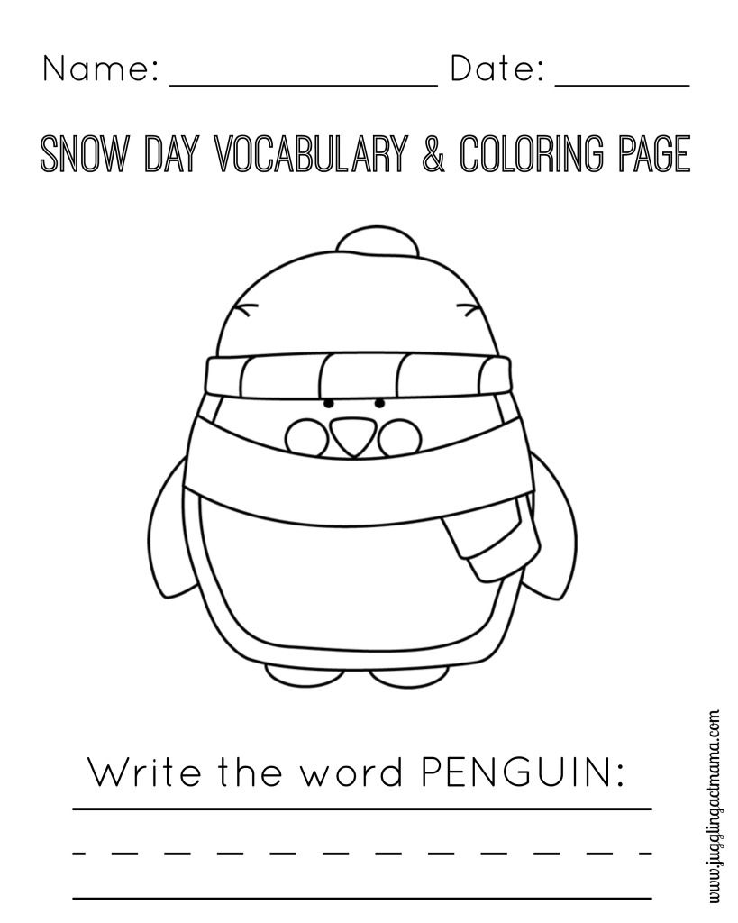 Snow Day Printable Pack Penguin Coloring Pages Craft Activities