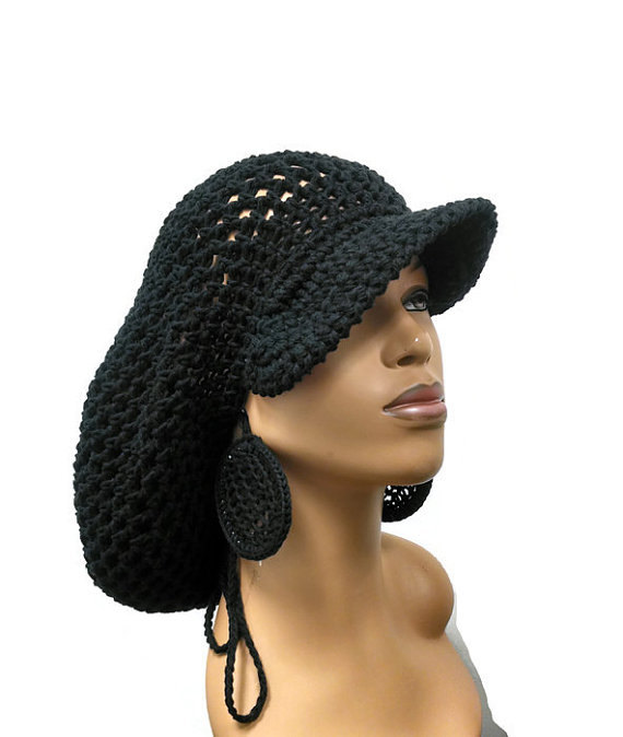 PATTERN ONLY Brimmed crochet Slouch hat Dreadlock hat with drawstring 35eee7a9661