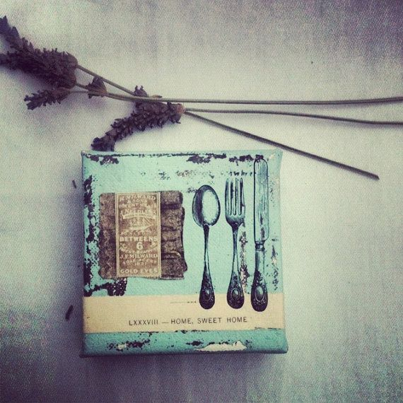 Two Pieces, Vintage fork Vintage book pageMixed by beachbabyblues on Etsy