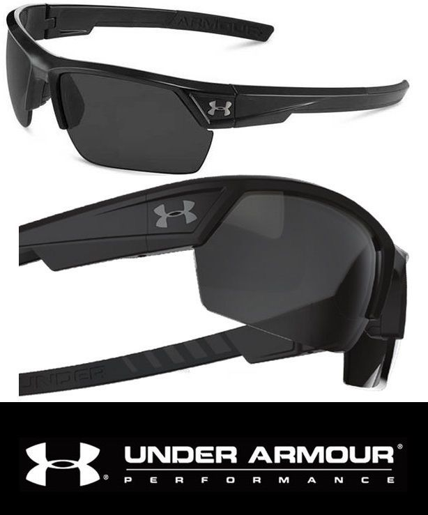 486584092a Under Armour Sunglasses UA Igniter 2.0 Mens Sport Shiny Black Frames Gray  Lens  UnderArmour  Sport