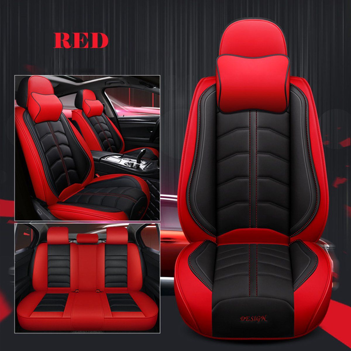 Luxury 5 Seats Car Seat Cover Universal SUV PU Leather