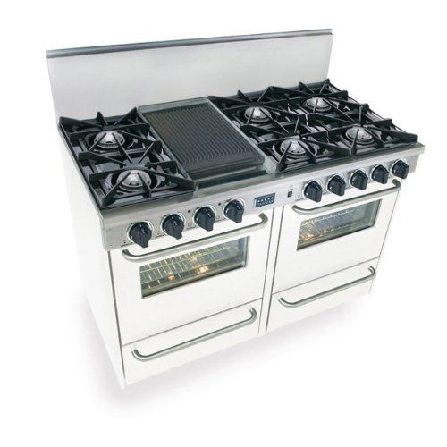 48 Pro Style Gas Range With 6 Open Burners Vari Flame Simmer On Front Burners 2 92 Cu Ft Manual Clean O Double Oven Range Broiler Oven Gas Range Double Oven