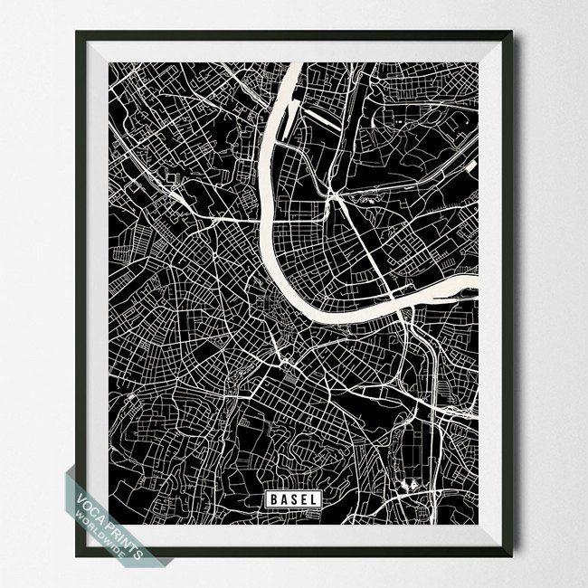 BASEL SWITZERLAND STREET MAP PRINT By Voca Prints Modern Street Map Art Poster With