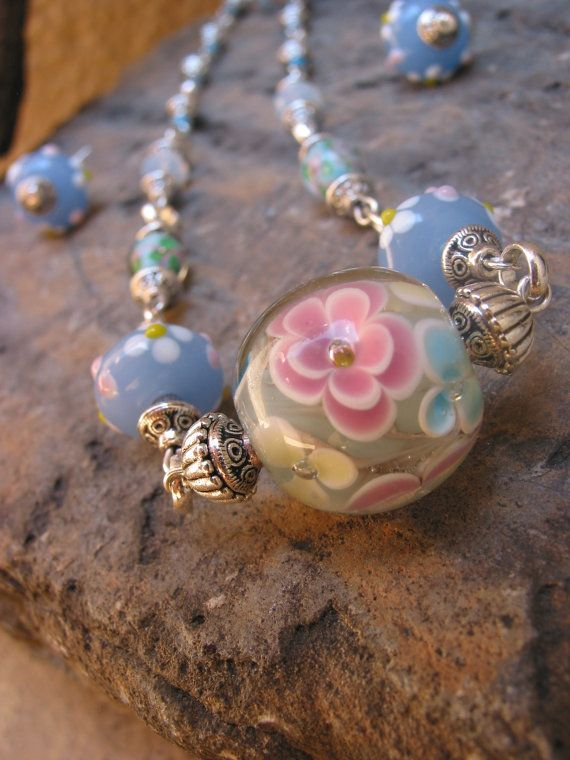 lamp work bead necklace