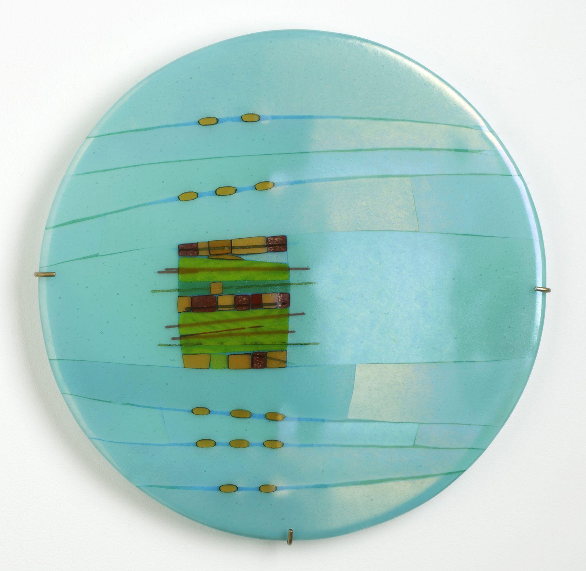 Aqua window round by lynn latimer large art glass wall