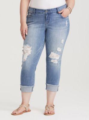 472d06e72b8 Mid-Rise Lace Underlay Crop Boyfriend Jeans in Distressed Light Wash