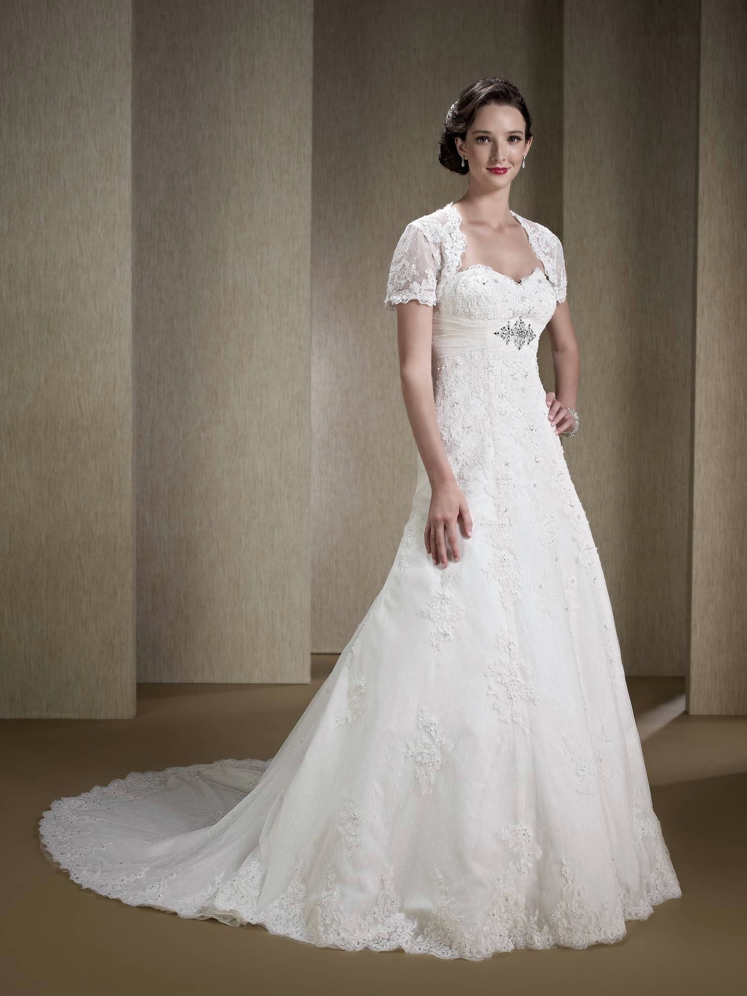 Clearance Wedding Dresses.A Line Strapless Wedding Dress Lace Overlay Removable Jacket