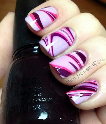 Cool water marbled nails..