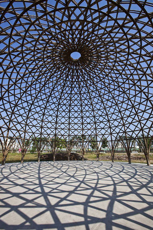 Soaring domes built with bamboo, the new  green steel  is part of Bamboo architecture - Strong, inexpensive and quick to grow, there is a lot of potential for bamboo to replace other building materials, and this complex of 80foot wide bamboo domes is but one example
