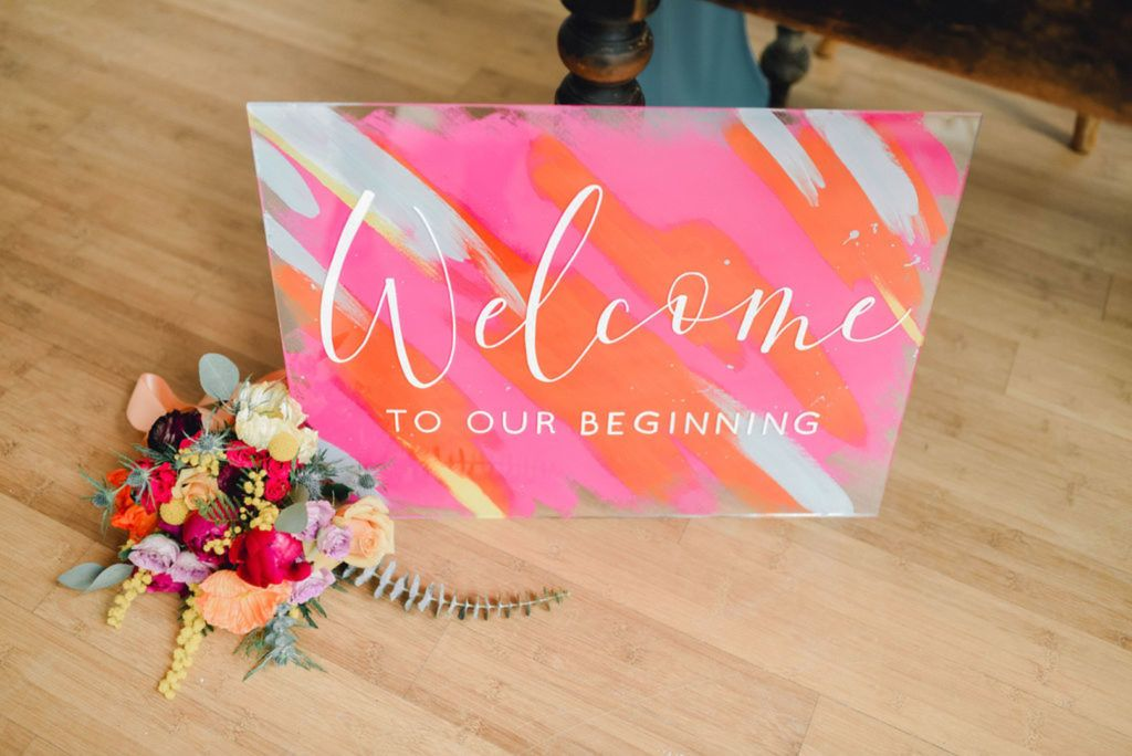 A Bold & Modern Pink, Orange & Yellow Color Pop Bridal