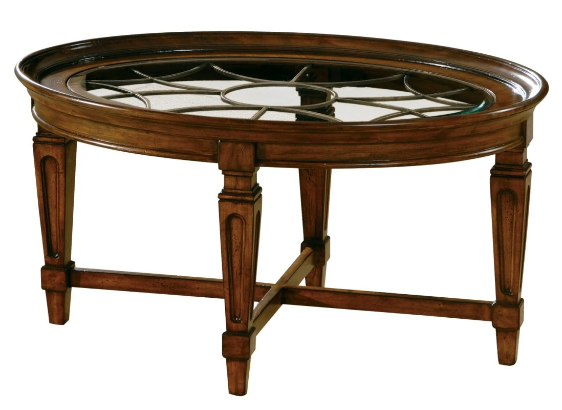 Hekman 728276081 40 Inch Wide Wood Coffee Table With Metal Grill And Glass Inlay Cherry Veneer Indoor Furnitu Coffee Table Wood Coffee Table Oval Coffee Tables [ 800 x 1098 Pixel ]