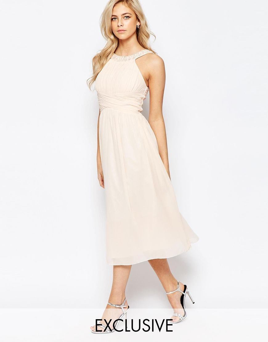 Tfnc maxi dress with pleated bust and full lining a baseball