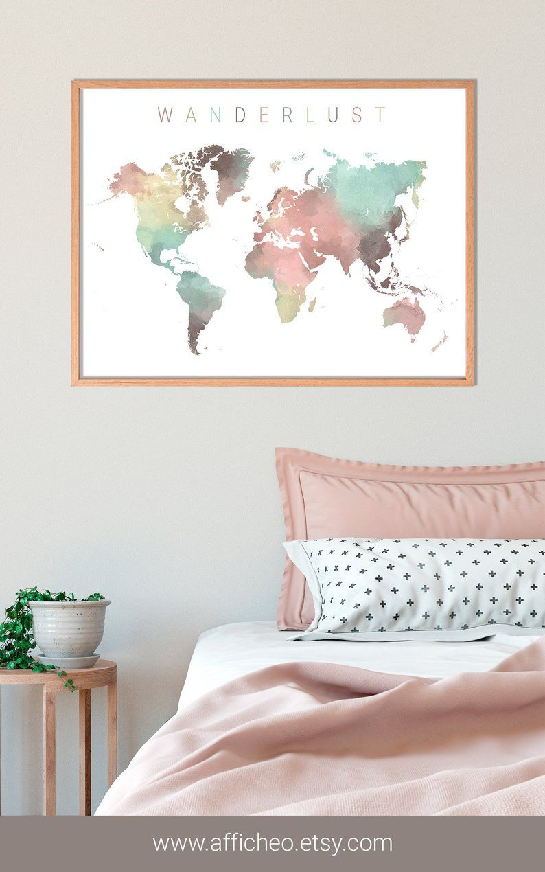 Carte Du Monde Couleurs Pastels Effet Aquarelle Grande Mappemonde