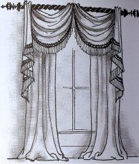 Pin By Debbie Oklad Van Lue On Curtains Swags And Tails Curtain Drawing Curtains