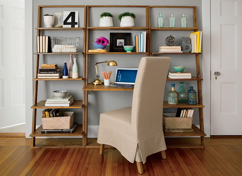 Emmett leaning desk and bookcase made of solid acacia wood boston interiors