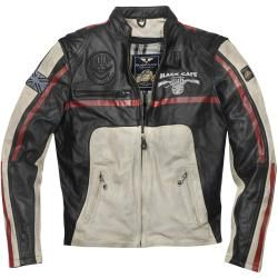 Photo of Black-Cafe London Dhaka motorcycle leather jacket black white red 60