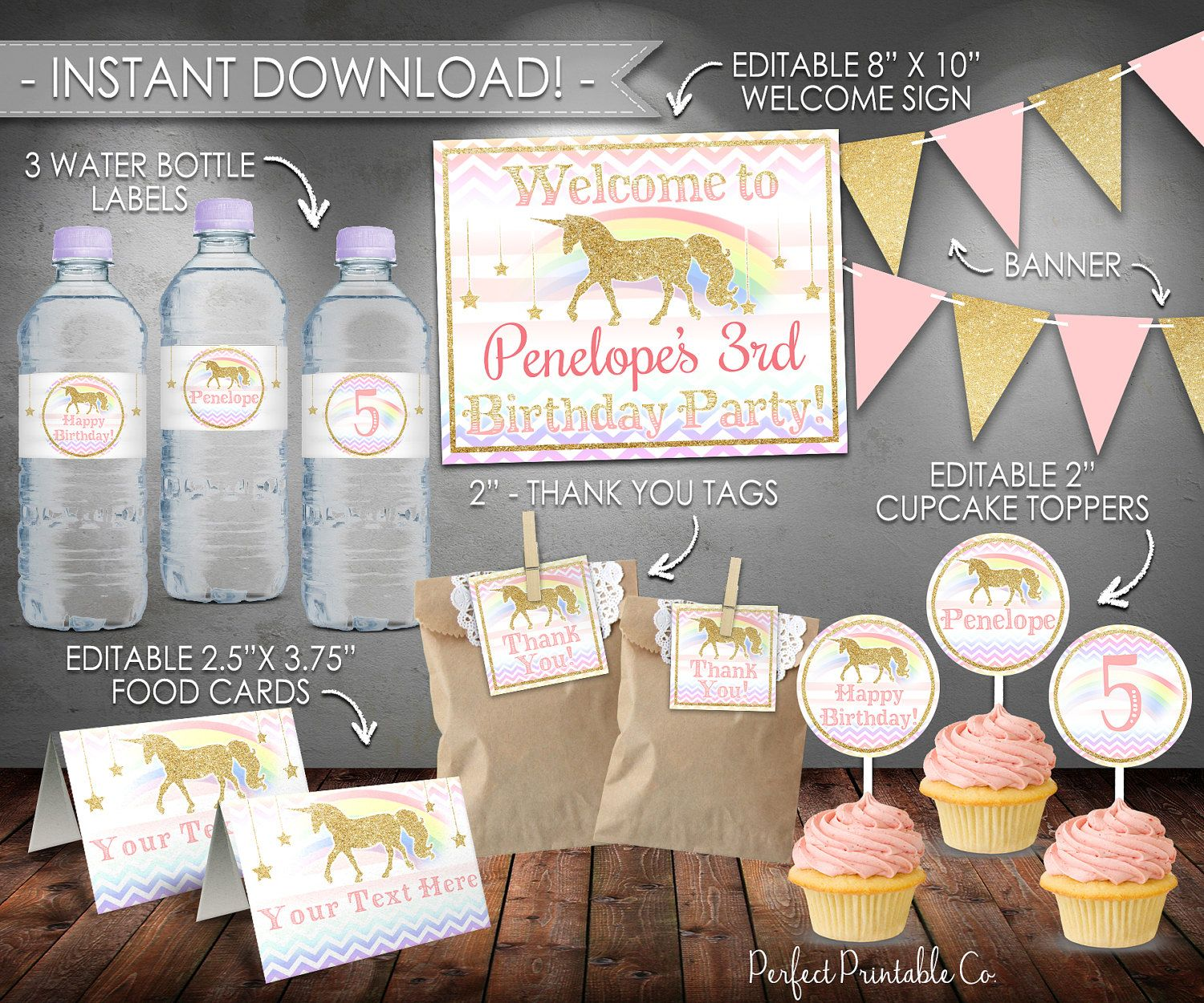 Printable Unicorn Party Package Kit Birthday Bundle Pink Gold Instant Download Editable PDF File 512 By PerfectPrintableCo