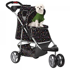 Monogram Pet Stroller. Features:  Pet Compartment measures 24 in. L x 18 in. W x 18 in. H Stroller measures 28 in. L x 19 in. W x 39.5 in. H at the handle Folded stroller measures 33 in. L x 16 in. W x 13 in. H For pets up to 45 lbs. Large 9 in. wheels with suspension for easy running, jogging or just strollin' along Front shock absorbers Locking rear wheels for your pet's safety Sturdy mesh panels for ventilation Three tier retractable canopy Padded comfort…