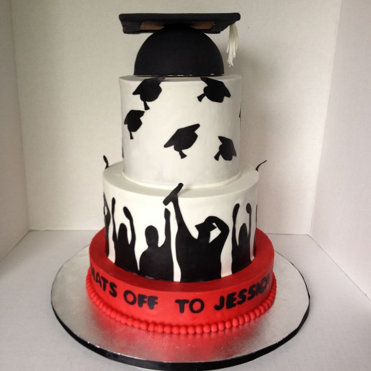 Graduation Cake In White Black And Red With Graduation Cap