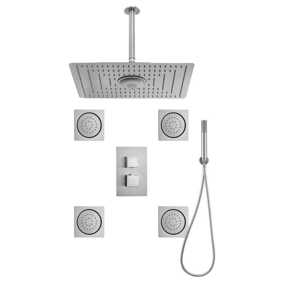 $590 Moorefield 3-Way Brushed Nickel Shower Panel System | master ...