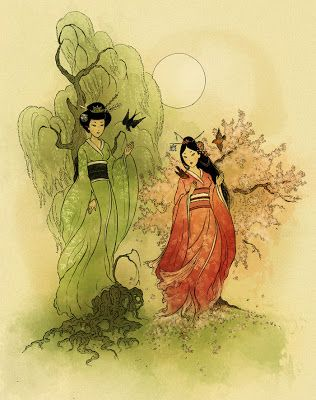 Willow And Cherry Tree Goddesses Shinto Art   Archival Art Print X 11