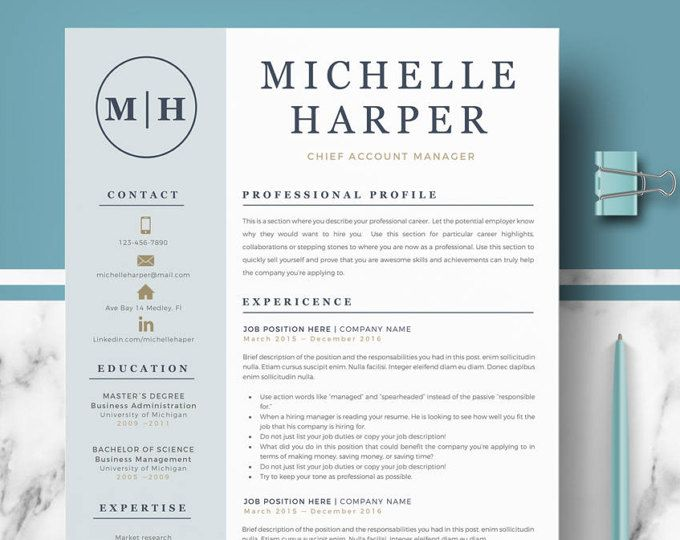 Professional and Modern Resume Template for Word Creative Resume - professional word templates