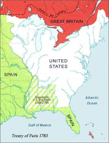 The Treaty Of Paris Officially Ended The Revolutionary War - Map of us in 1783