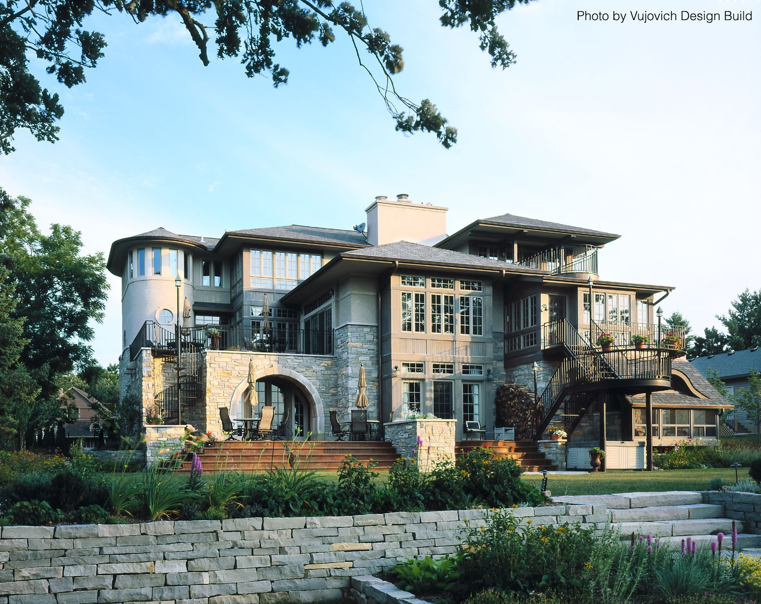 Amazing Very Interesting Home Exterior With Multiple Entry Points, Wide Stairs  Leading Outside, A Winding