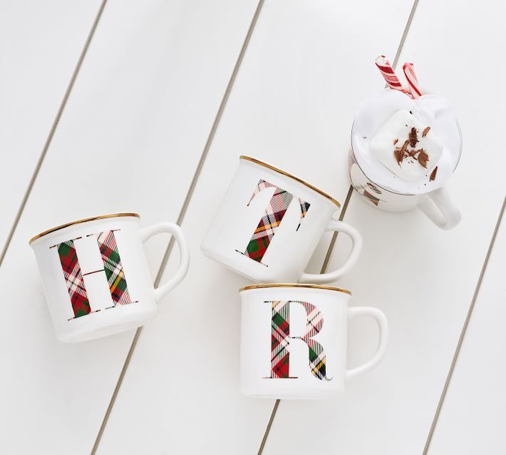 Gift Plaid Monogrammed Hot Chocolate Mugs For Christmas