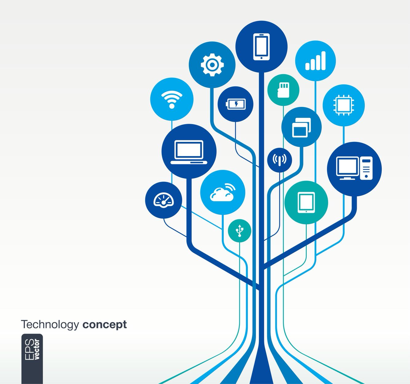 Techno tree Technology background, Technology icon