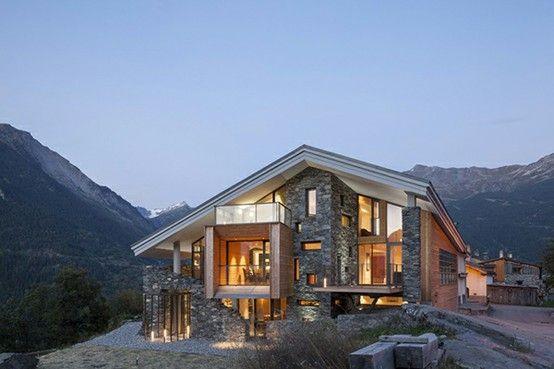 The Mineral Lodge by Atelier d'Architecture Christian Girard. More photos: http://freshome.com/2013/02/20/house-in-the-mountains-inspired-by-the-rough-landscape/