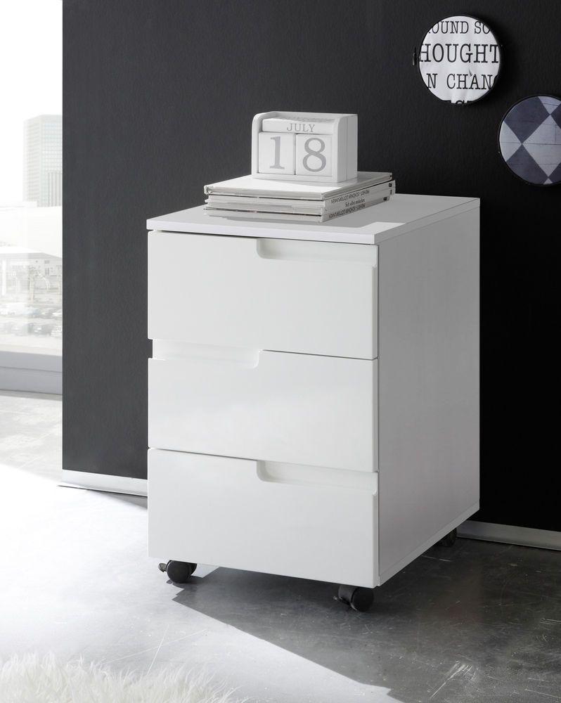 Details zu Rollcontainer in weiss Hochglanz Container Büro ...