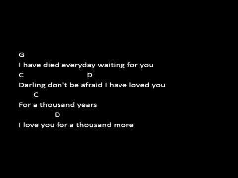 A Thousand Years - Christina Perri (Chord & Lyric) - YouTube   music ...