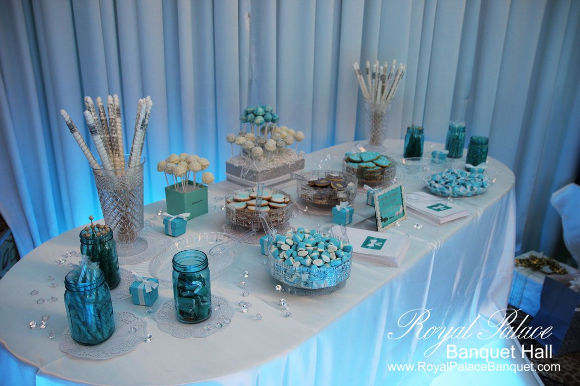 Wedding decorations royal blue  Tiffany blue wedding candy station at Royal Palace Banquet Hall