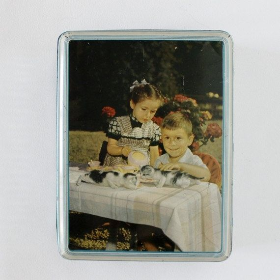 Collectible Tin Box Container - With Cute Little Children & Kittens - Perfect For Cookies Or Sweets - 1950s - French Kitchen Vintage by OhlalaCamille on Gourmly