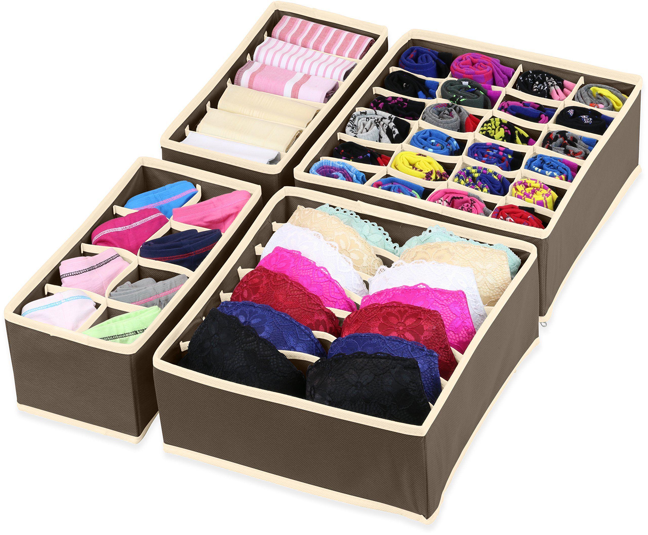 SimpleHouseware Closet Underwear Organizer Drawer Divider 4 Set