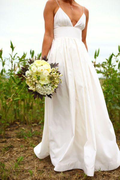 V Neck Spaghetti Strap High Waist Silk Satin Spring Wedding Dress